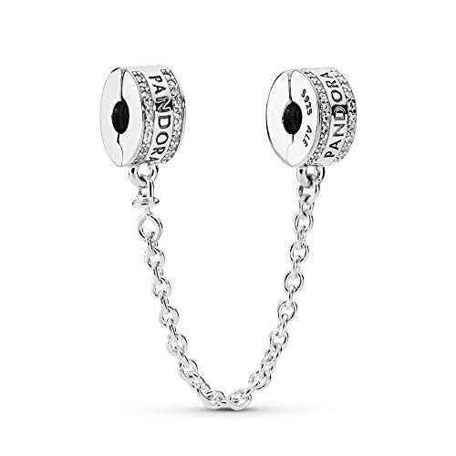 PANDORA Pandora Logo Safety Chain Charm, Sterling Silver, Clear Cubic Zirconia, 2 IN