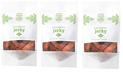 Organic Vegan Chipotle Lime Coconut Meat Jerky Sampler 3-pack Healthy Snack Hiking Camping Soy Free Non GMO Sugar Free Gluten Free Vegan Jerky Best Paleo Raw Kids Satisfying Gourmet Enjoy Seva Foods