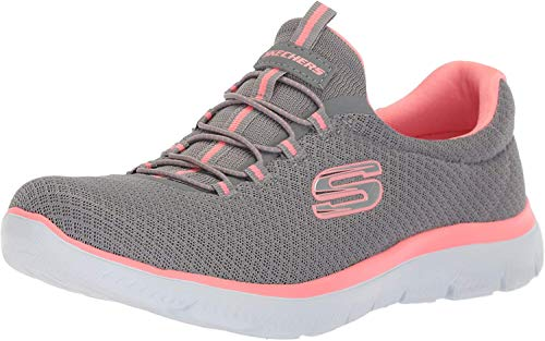 Skechers womens Summits Sneaker, Grey/Pink, 8.5 Wide US