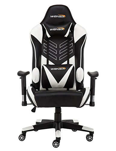 WENSIX Ergonomic High Back Computer Gaming Chair for PC Racing Chairs with Adjustable Headrest and Backrest (White/Black) For Sale