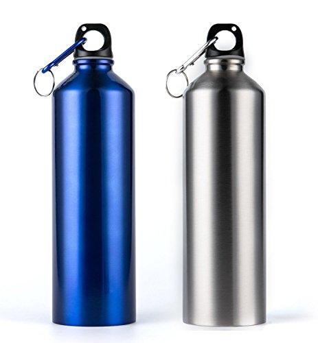 Bekith 25-Unze-Edelstahl Trinkflasche 2-Pack, Blau und Silber