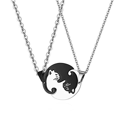 Stainless Steel His Hers Yin Yang Pet Cat Puzzle Pendant Necklace for Couples Valentines Day Gifts,with Gift Bag
