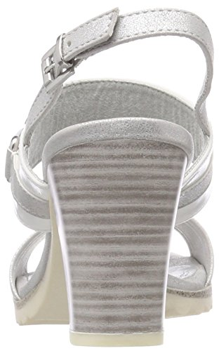 Marco Tozzi Women's 28704 Sling Back Sandals, Blue White (White Pat.comb 190)