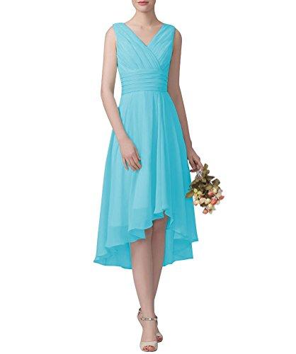 WeiYin Women's V-Neck Chiffon Short Bridesmaid Dress Party Dress
