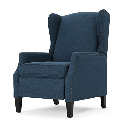 Weyland Wingback Traditional Fabric Recliner (Navy Blue) (Navy Blue Padded Recliner)