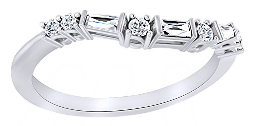 Baguette Cut White Natural Diamond Contour Band Ring In 14K Solid White Gold (0.2 Ct), (0.2 Ct Baguette)
