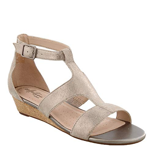 Clarks Women's Abigail Lily Wedge Sandal, pewter suede, 7.5 M US