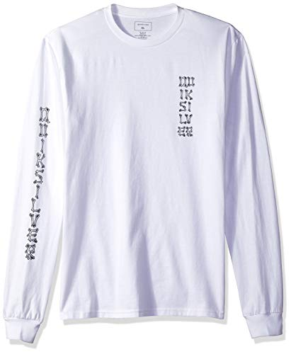 Quiksilver Men's Logo Long Sleeve TEE Shirt, Bone Party White, M