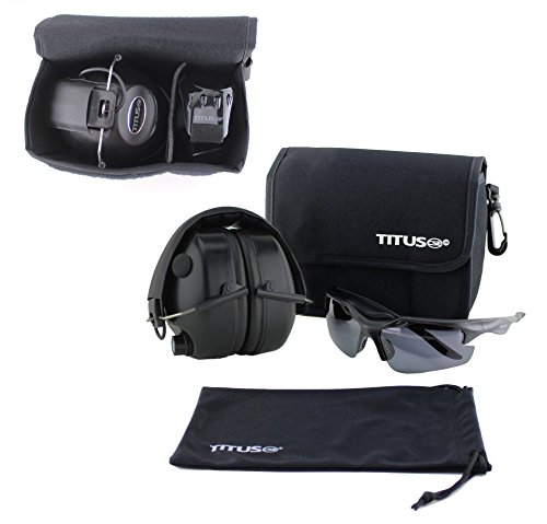 TITUS Earmuff/Glasses Combo – Electronic Noise Cancelling Muffs & G Series Safety Glasses - (EarMuffs, Glasses, and Carrying Case) - Personal Safety, Shooting Gear, Portable - India Online Polarized Sunglasses