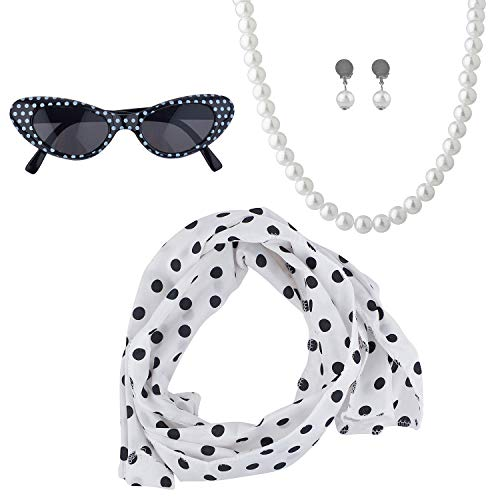 Lux Accessories Halloween Girls Fun Black White Polka Dot Sunglass Scarf Pearl Necklace Costume Set