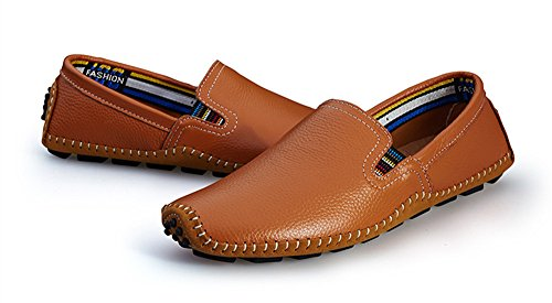 BIFINI Men's Cowhide Casual Driving Moccasins Shoes Slip On Loafer Brown by BIFINI (Image #7)