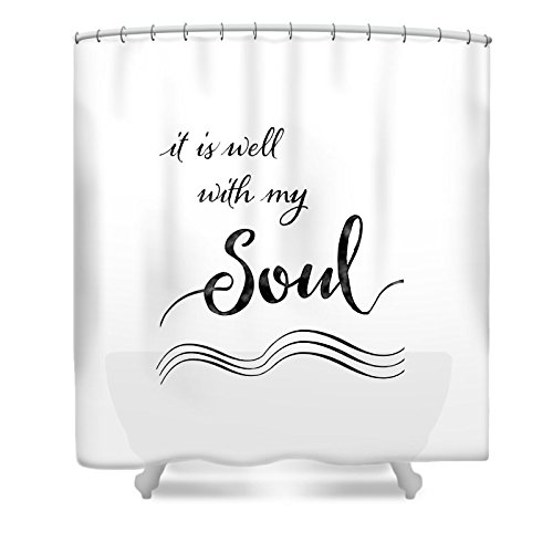 Pixels Shower Curtain (74'' x 71'') ''Inspirational Typography Script Calligraphy - It Is Well With My Soul'' by Pixels
