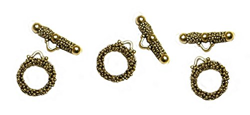 PlanetZia 5 Sets Dotted Round Toggle Clasps for Jewelry Making TVT-2223 (Antique Gold)