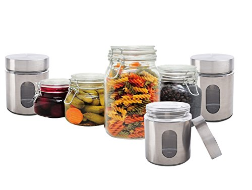 PriorityChef 3 Silver Tea, Coffee, Sugar Jars and 4 Piece Glass Storage Containers Gift Set Bundle - Collection Tea Storage Jar