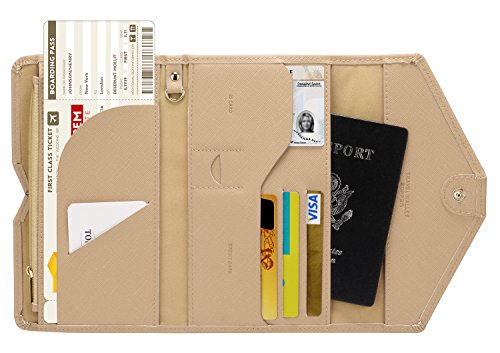 - Zoppen Multi-purpose Rfid Blocking Travel Passport Wallet (Ver.4) Tri-fold Document Organizer Holder, Hazelnut