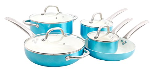 (Oster 109445.09 Montecielo 9pc Aluminum Cookware Set, Metallic Turquoise)