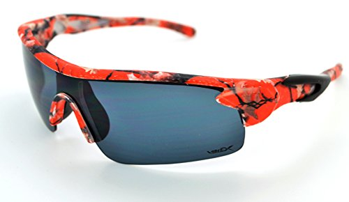 VertX Lightweight Durable Mens & Womens Athletic Sport Wrap Sunglasses Hunting Fishing w/FREE Microfiber Pouch - Orange Camo Frame - Smoke - Shades Baseball