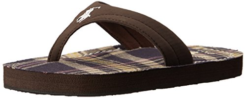 Polo by Ralph Lauren Terrence Thong Sandal (Toddler/Little Kid/Big Kid),Brown Sportbuck/Road Multi Plaid,8 M US Toddler (Toddler Brown Multi Footwear)