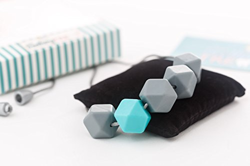 Silicone Teething Necklace: Chew beads, Unique Design for Moms, Stylish, Safe, Instant pain relief, BPA Free, Perfect Baby Shower + Gift Box ()