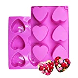 BAKER DEPOT 6 Holes Heart Shaped Silicone Mold For Chocolate, Cake, Jelly, Pudding, Handmade Soap, Set of 2