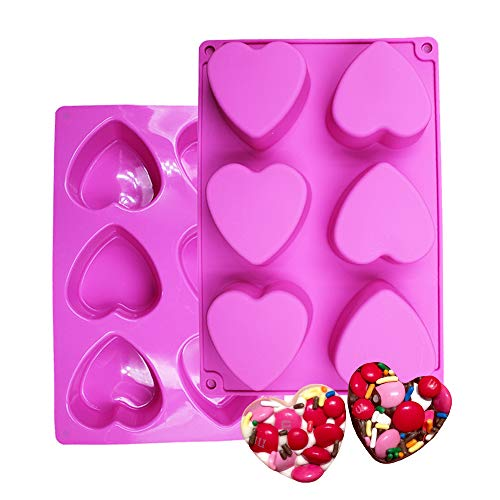 BAKER DEPOT 6 Holes Heart Shaped Silicone Mold For Chocolate Cake Jelly Pudding Handmade Soap Mould Candy Making Set of 2 - Flat Heart Mold