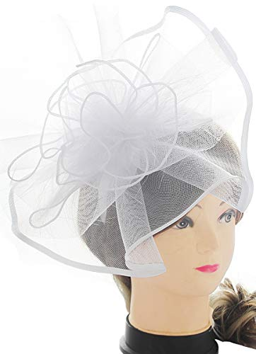 Myjoyday Fascinator Hats Big Mesh Flower Headband Tea Party Headwear for Girls and Women (White) by Myjoyday (Image #5)