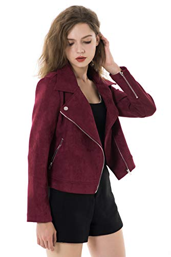 Apperloth Women's Faux Suede Biker Jacket Slim Short Coat Zipper Moto Jackets (Womens Maroon Leather Jacket)