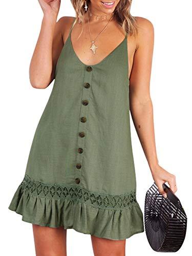 D Jill Women's Summer V Neck Spaghetti Strap Button Down Swing Casual Mini Dress Sleeveless Green, Large