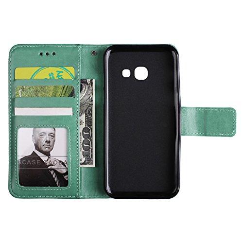 Galaxy A3 2017 Carcasa,Funda Cuero para Samsung Galaxy A3,Ekakashop Clásico Verde La Mitad de Flores Patrón Bookstyle Flip Billetera Wallet Case Bumper ...