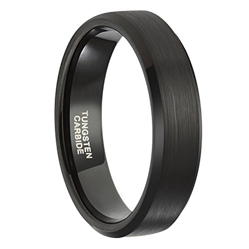 6mm Black Tungsten Carbide Ring for Men Women Brushed Beveled Edge Unisex Wedding Band Comfort Fit