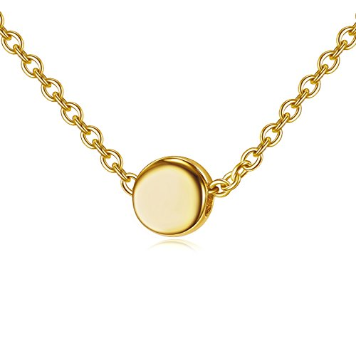 Tiny Dot Necklace in 18k Gold over Sterling Silver - Minimalist - Luxe Pendant Mini