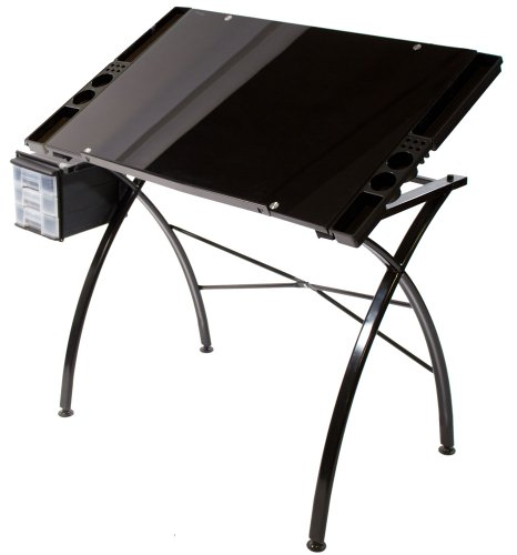 Martin Dezign Line Glass Drawing Table 23.6-Inch by 35.6-Inch Top by Martin