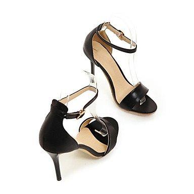 Club de Sandals Zapatos de charol de tafetán Oficina & Carrera parte & traje de noche Stiletto talón hebilla Black