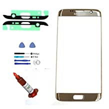 (md0410) OEM GOLD Front Outer Lens Glass Screen Replacement For Samsung Galaxy S7 EDGE G935 + Adhesive + Tools + 5ml UV LOCA Liquid Glue (LCD and Digitizer not included)