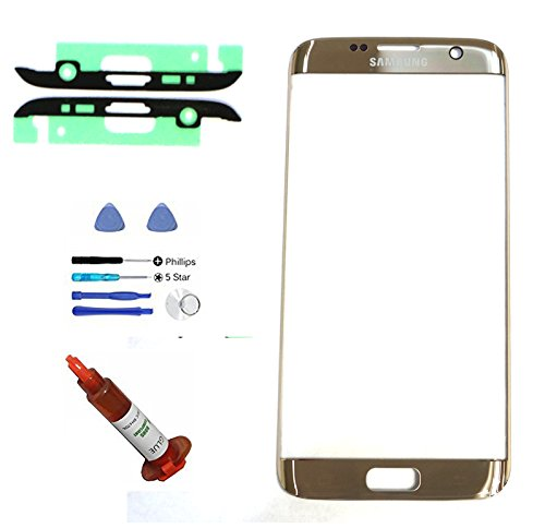 (md0410) OEM GOLD Front Outer Lens Glass Screen Replacement For Samsung Galaxy S7 EDGE G935 + Adhesive + Tools + 5ml UV LOCA Liquid Glue (LCD and Digitizer not included) - Galaxy S4 Screen Replacement Gold
