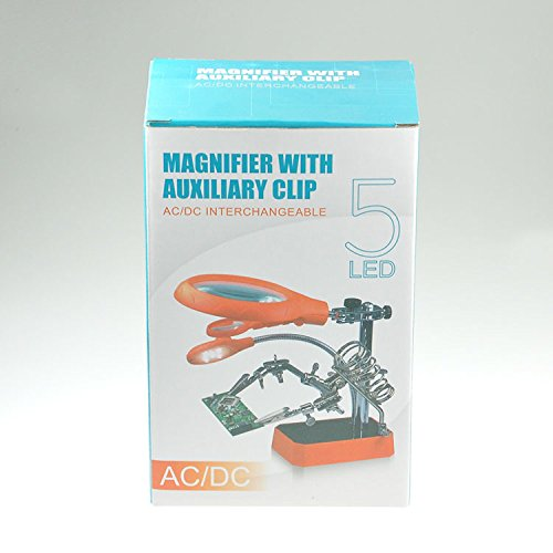 5 LED Light Magnifier Magnifying Glass Helping Hand Soldering Stand with 3 Lens - (Battery Soldering Jig)
