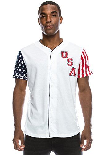 American Flag Baseball Jersey (JC DISTRO Mens Hipster Hip Hop USA Flag Baseball Jersey T-Shirt White Medium)