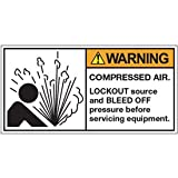 Vinyl ANSI Warning Labels - Warning Compressed Air - 2''h x 4''w, White COMPRESSED AIR. LOCK OUT SOURCE AND BLEED OFF PRESSURE BEFORE SERVICING - Standard Adhesive