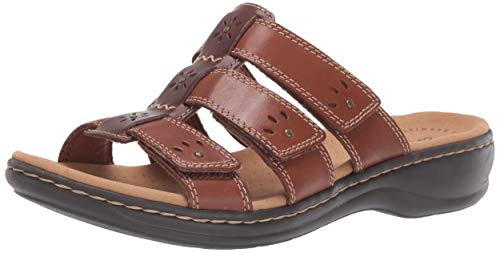 (CLARKS Women's Leisa Spring Sandal, Brown Multi Leather, 85 W US)