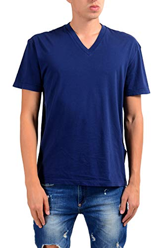 (Prada Men's Blue Short Sleeve V-Neck T-Shirt US XL IT 54)