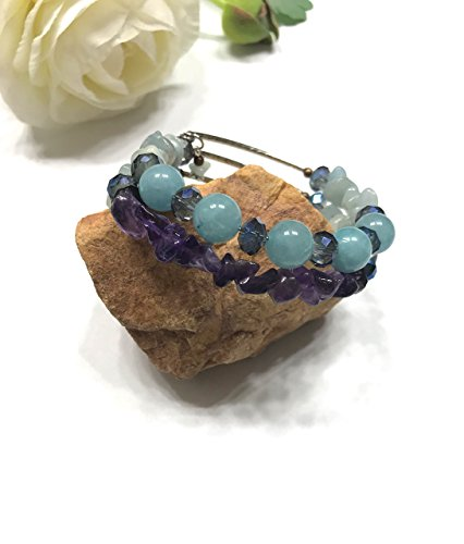 Natural Aquamarine, Amethyst, and Blue Aventurine Memory Wire Double Strand Bracelet. Throat, and Crown Chakra Balance. All Upper Chakras. (Strand Aquamarine Bracelet)