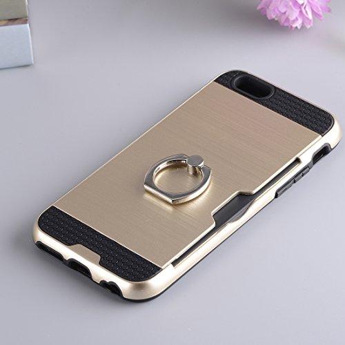 Wkae Textura de metal de protección trasera con soporte de anillo de soporte y ranura para tarjeta para el iPhone 7 ( SKU : Ip7g5016j ) Ip7g5016j