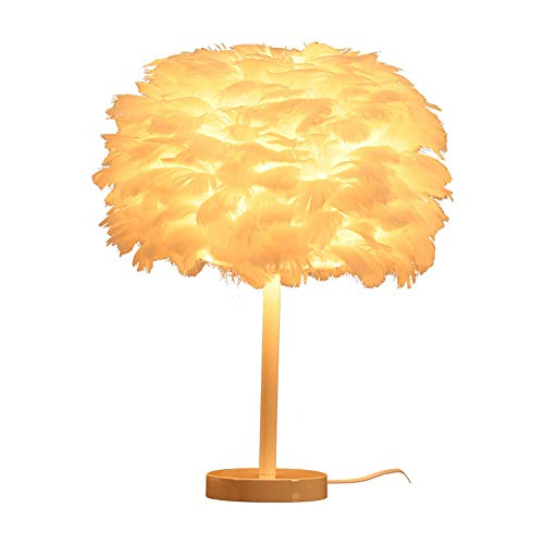 Feather Lamp,White Bedside Table Lamp,Children Beside Bed Lamp,Cloud Lamp Bedroom House Dining Room Decoration Light for Girl