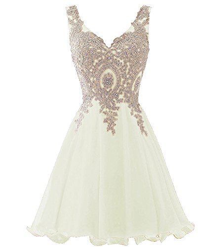 Beaded V-neck Skirt (V Neck Short Beaded Gold Lace Prom Dress Homecoming Cocktail Gowns Little White US 16)