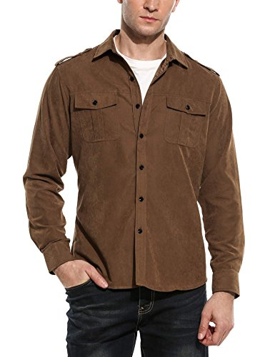 COOFANDY Men's Faux Suede Fashion Casual Long Sleeve Button Down Travel Shirt with Pockets ()