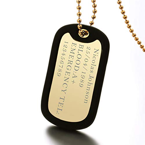 "U7 Custom Engraved Medical Alert ID Dog Tag Pendant with Stainless Steel Chain 23"", Men Women Personalized Military Army Ranger Navy Seals Dog Tags with Black Silencer (1 Gold Tag)"