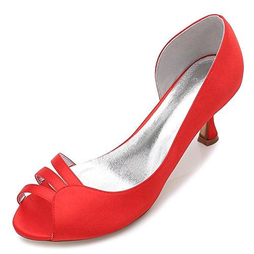 L@YC Frauen-Hochzeits-Schuhe E17061-51 KäTzchen Mit Mittleren ausdehnungs-Satin-Braut-Schuhen Red