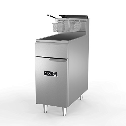 Fryer, natural gas, floor model, 50 lb. capacity, (3) 38,000 BTU burners, millivolt controls, 5'' casters, Asber AEF-4050 S by Asber