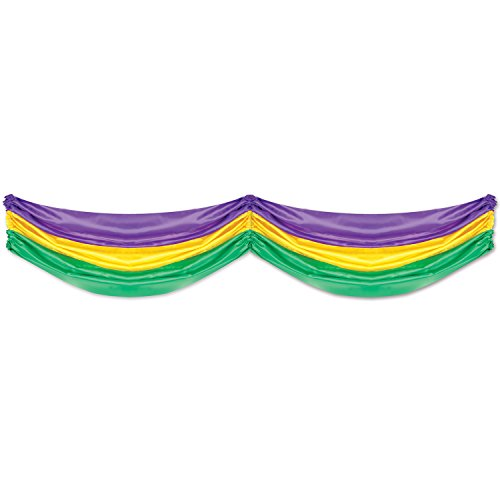 Mardi Gras Fabric Bunting (golden-yellow, green, purple) Party Accessory  (1 count) (Mardi Gras Bunting)