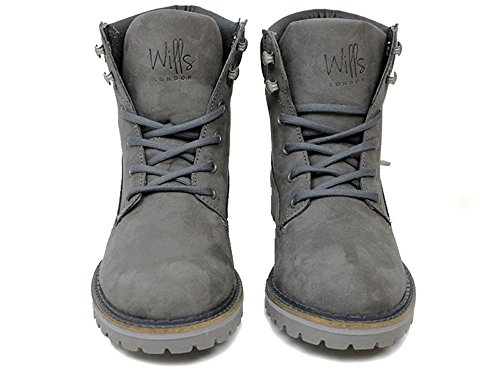Wills Mens Vegan Dock Boots In Grijs